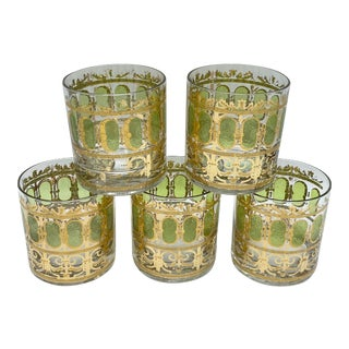 Mid-Century Culver Green and 22k Gold Scroll Double Old Fashion Glasses-Set of 5 For Sale