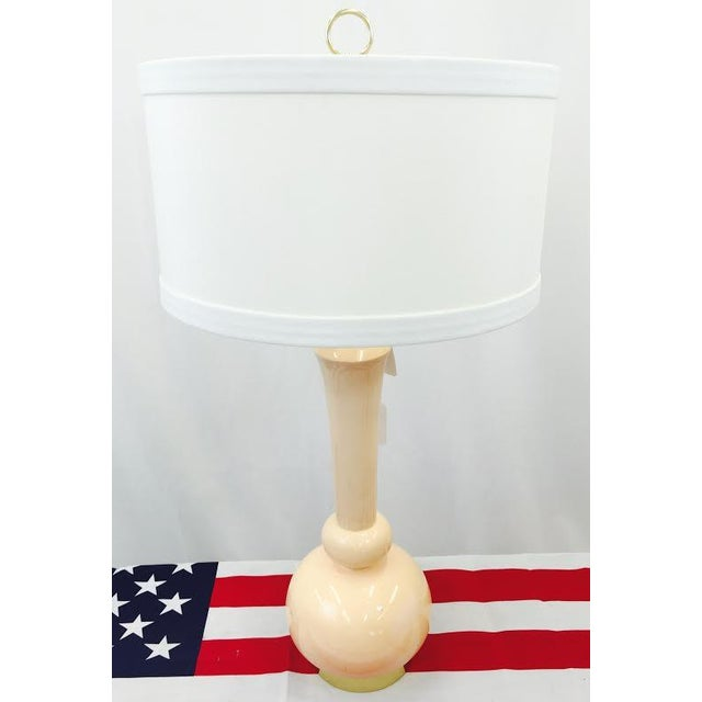Modern Peach Colored Ceramic Lamp on Brass Base For Sale - Image 4 of 7