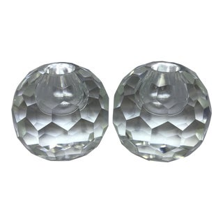 1950s Vintage Post House Japanese Lead Crystal Candle Holders - A Pair For Sale