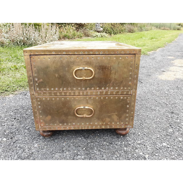 1980s Mid-Century Modern Sarreid Brass Chest of Drawers For Sale - Image 11 of 13