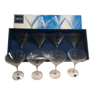 Vintage Mikasa Etched Swirl Line and Polka Dot Crystal Martini Glasses With Box - Made in France For Sale
