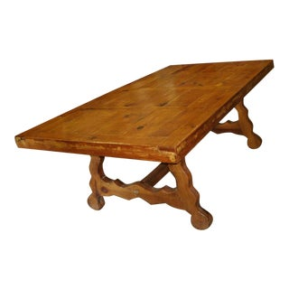 Big Vintage Rustic Farmhouse Knotty Pine Heavy Kitchen / Dining Table For Sale