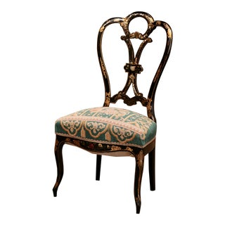 19th Century Napoleon III Black Lacquered and Mother of Peal Ladies Chair For Sale