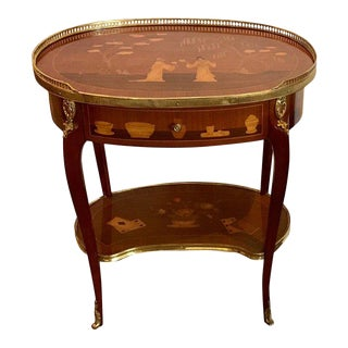Louis XVI Style King and Tulip Wood Marquetry Side Table For Sale