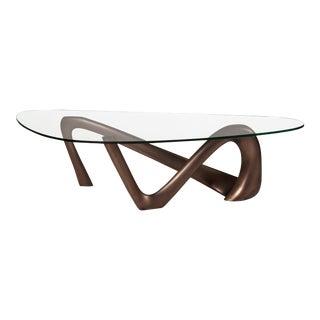 Amorph Iris Dark Bronze Metal Finish Coffee Table With Glass Top For Sale