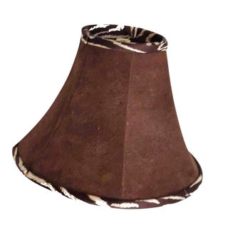 1990s Brown Ultra Suede Shade Lined & Piped in Chocolate Zebra Striped Silk For Sale