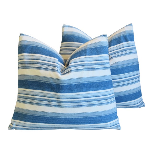"French Blue & White Nautical Stripe Feather/Down Pillows 20"" X 18"" - Pair For Sale"