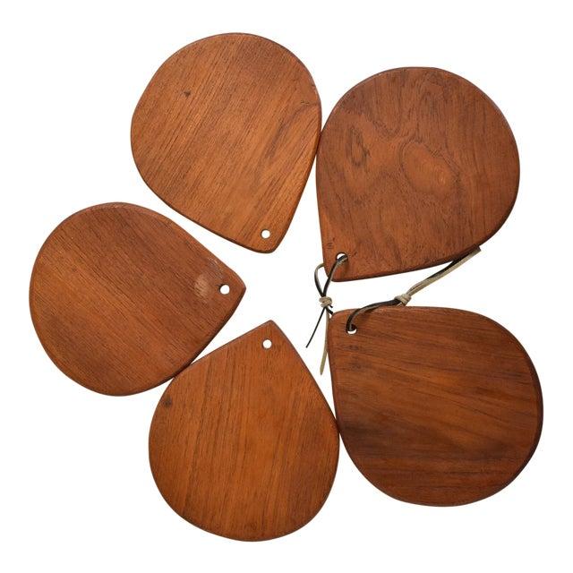Mid Century Danish Modern Set of 5 Decorative Teak Plates For Sale