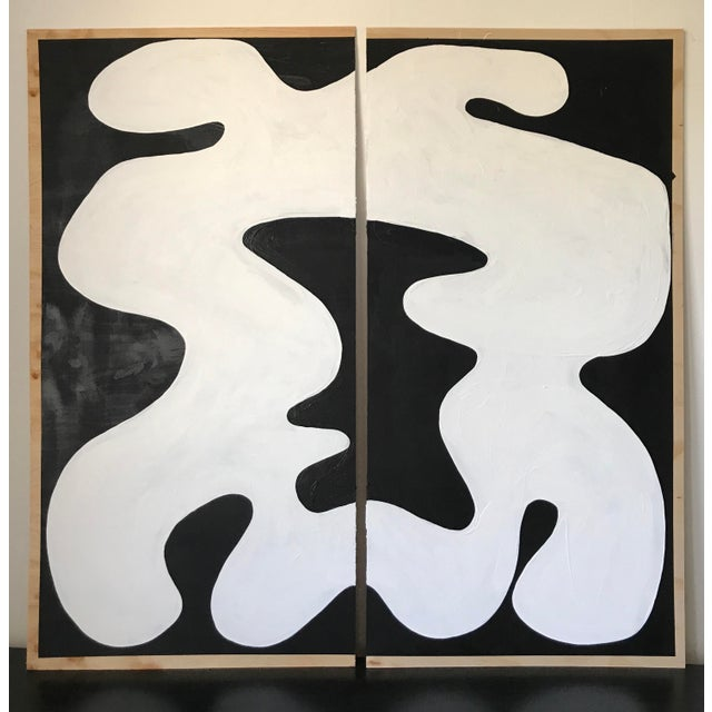 Hannah Polskin Abstract Butterfly Monochrome Diptych - 2 Pieces For Sale - Image 10 of 10