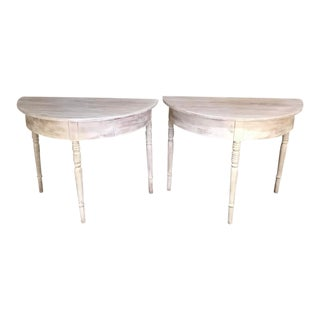 Pair 19th Century Swedish Pine Painted Demilune Consoles Ca. 1860
