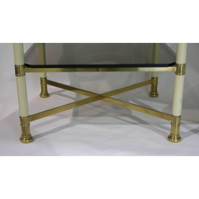 Gold Vivai Del Sud 1970s Smoked Glass and Ivory Brass Side Tables - a Pair For Sale - Image 8 of 11