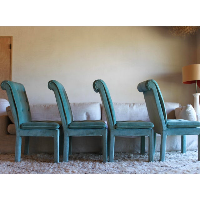 Glass 1970s Mid Century Modern Tufted Teal Green Velvet Parsons Dining Chairs Milo Baughman Style - Set of 4 For Sale - Image 7 of 13