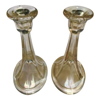 Topaz Iridescent Stretch Depression Glass Candlesticks - A Pair For Sale