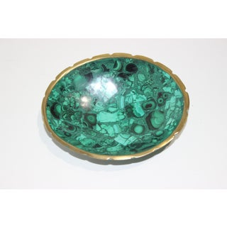 Vintage Malachite and Brass Scalloped Edge Oval Dish Preview