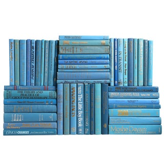 Retro Ocean Book Wall : Set of Fifty Decorative Books in Shades of Blue