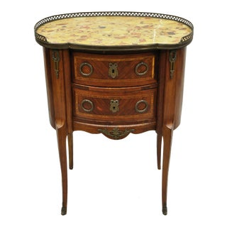 Antique French Louis XV Style Marble Top Nightstand For Sale