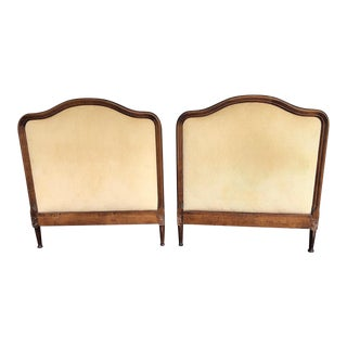 1950s French Twin Headboards Upholstered in Corded Gold Velvet - a Pair For Sale