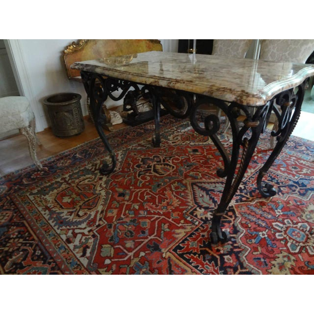 Tan 1940s French Marble Top Wrought Iron Center Table For Sale - Image 8 of 9