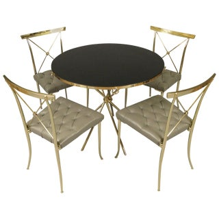 Classic Modern 1950s Brass and Leather Dining Set For Sale