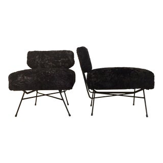Mid-Century Modern Studio Bbpr Arflex Italian Black Chairs- a Pair For Sale
