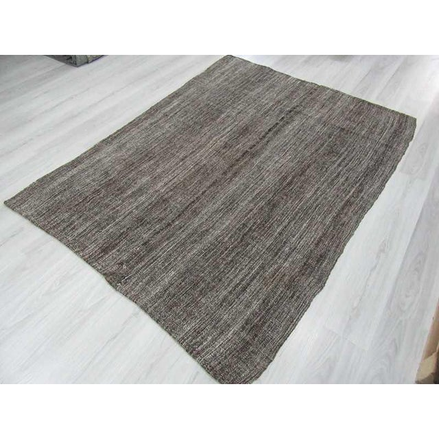 Dark Gray Vintage Kilim Rug - 5′6″ × 7′5″ For Sale - Image 5 of 6