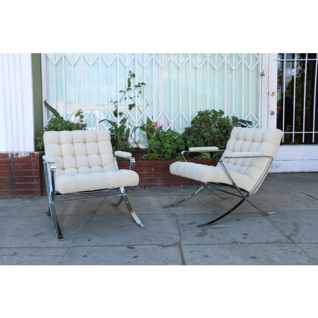Bernhardt Steel Chrome Lounge Chairs inspired by Milo Baughman For Sale - Image 4 of 13