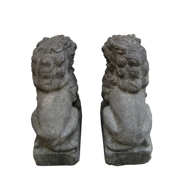 Vintage Stone Foo Dogs- A Pair - Image 4 of 6
