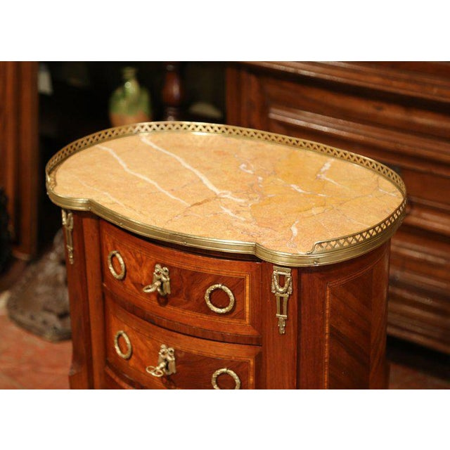 Late 19th Century 19th Century French Louis XV Walnut Commode Nightstand Chest With Marble Top For Sale - Image 5 of 10