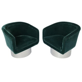 Pair of Leon Rosen Pedestal Swivel Lounge Chairs for Pace Collection For Sale