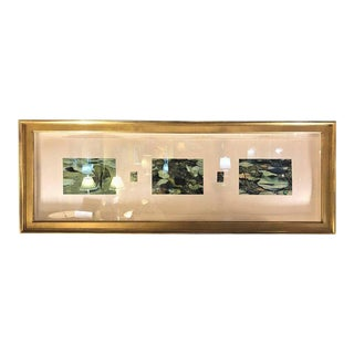 Signed Acrylic on Paper in Gilt Frame by David A. Dunlap Titled Lily Trip Tych