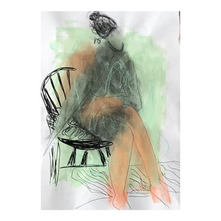 Contemporary Drawing, Nude in Chair For Sale