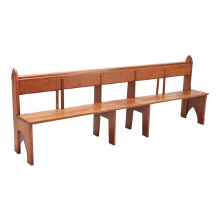 Mid-Century Modern Solid Oak Bench Wabi Sabi Style For Sale