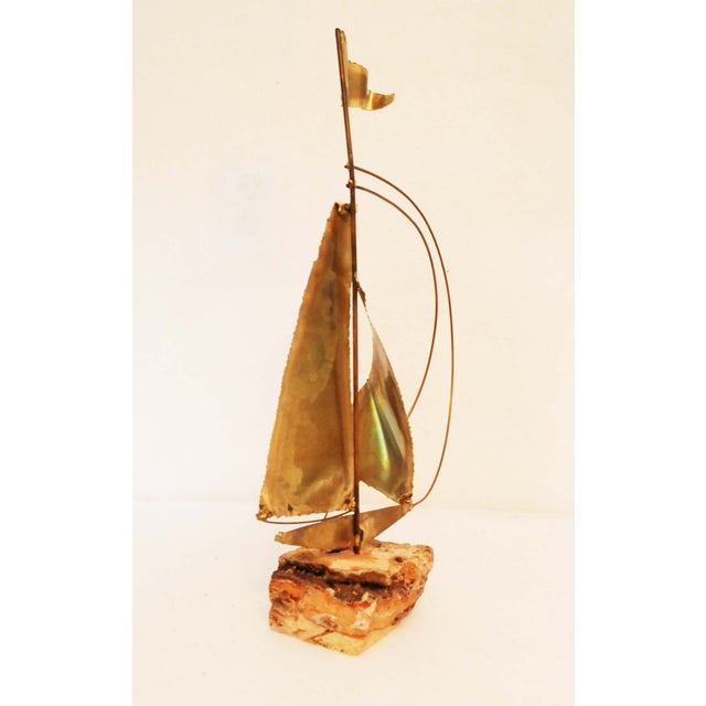 Vintage Stone Base Brass And Copper Sailboat - Image 4 of 5