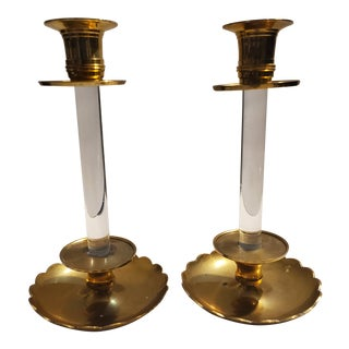 Vintage Brass and Lucite Candle Holders - a Pair For Sale
