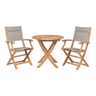 Stella 3-Piece Teak Outdoor Bistro Set Folding Table and Armchairs in Taupe Textilene Fabric For Sale