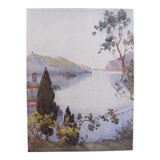 1905 Original Italian Print - Italian Travel Colour Plate - Lago d'Iseo For Sale
