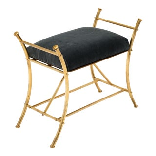 French Art Deco Period Brass Stool For Sale