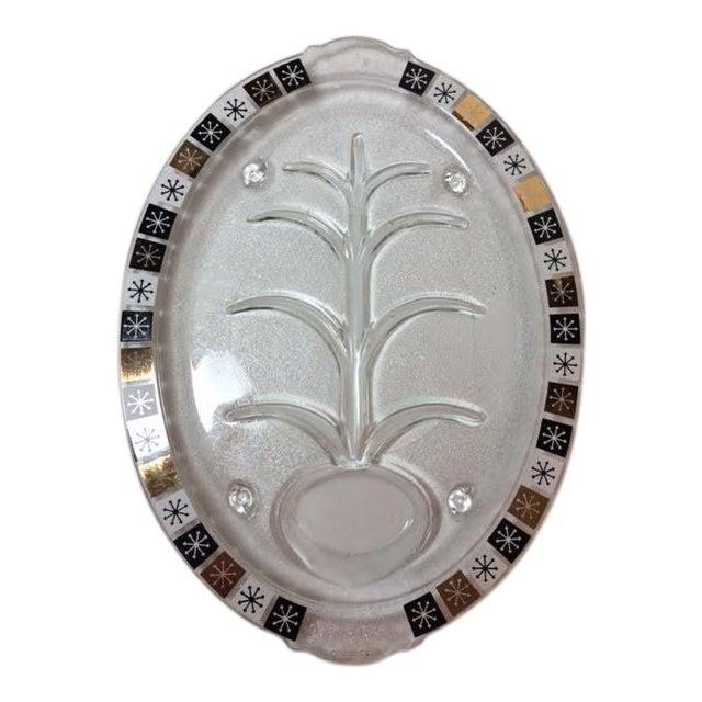 Vintage Inland Glass Atomic Starburst Meat Platter For Sale