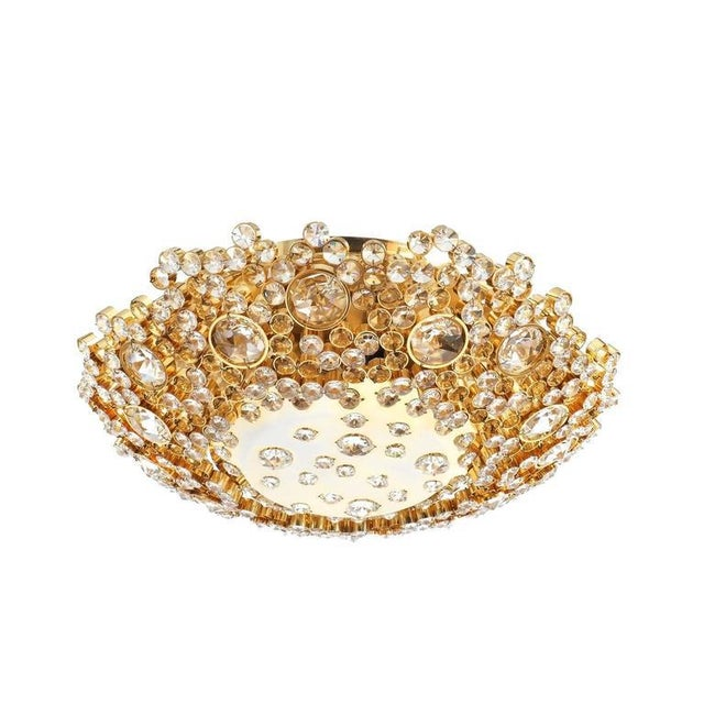 1960s Palwa Crystal Glass Encrusted Gold Plated Brass Flush Mount Ceiling Light, 1960 For Sale - Image 5 of 5