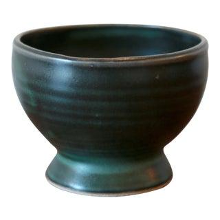 Dark Green Studio Pottery Ceramic Vessel For Sale