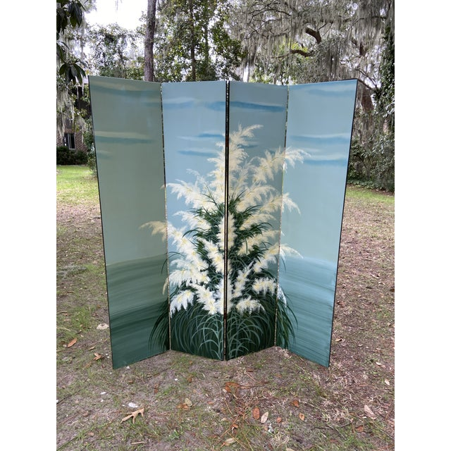 Pair Late 20th C. Hand-Painted Screens - Coastal Landscape For Sale - Image 4 of 13
