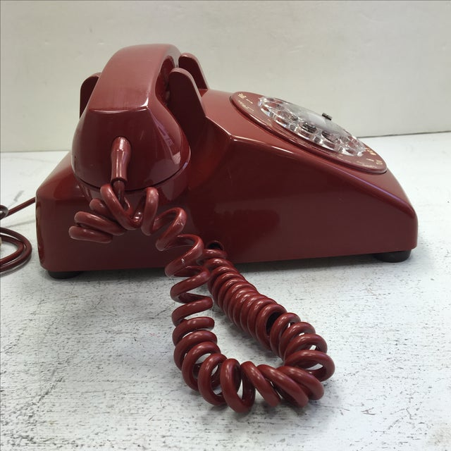 Western Electric Red Rotary Dial Telephone For Sale - Image 5 of 11