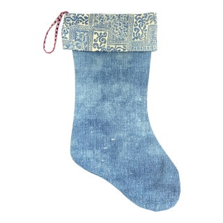 Vintage Indigo Batik & Denim Christmas Stocking For Sale
