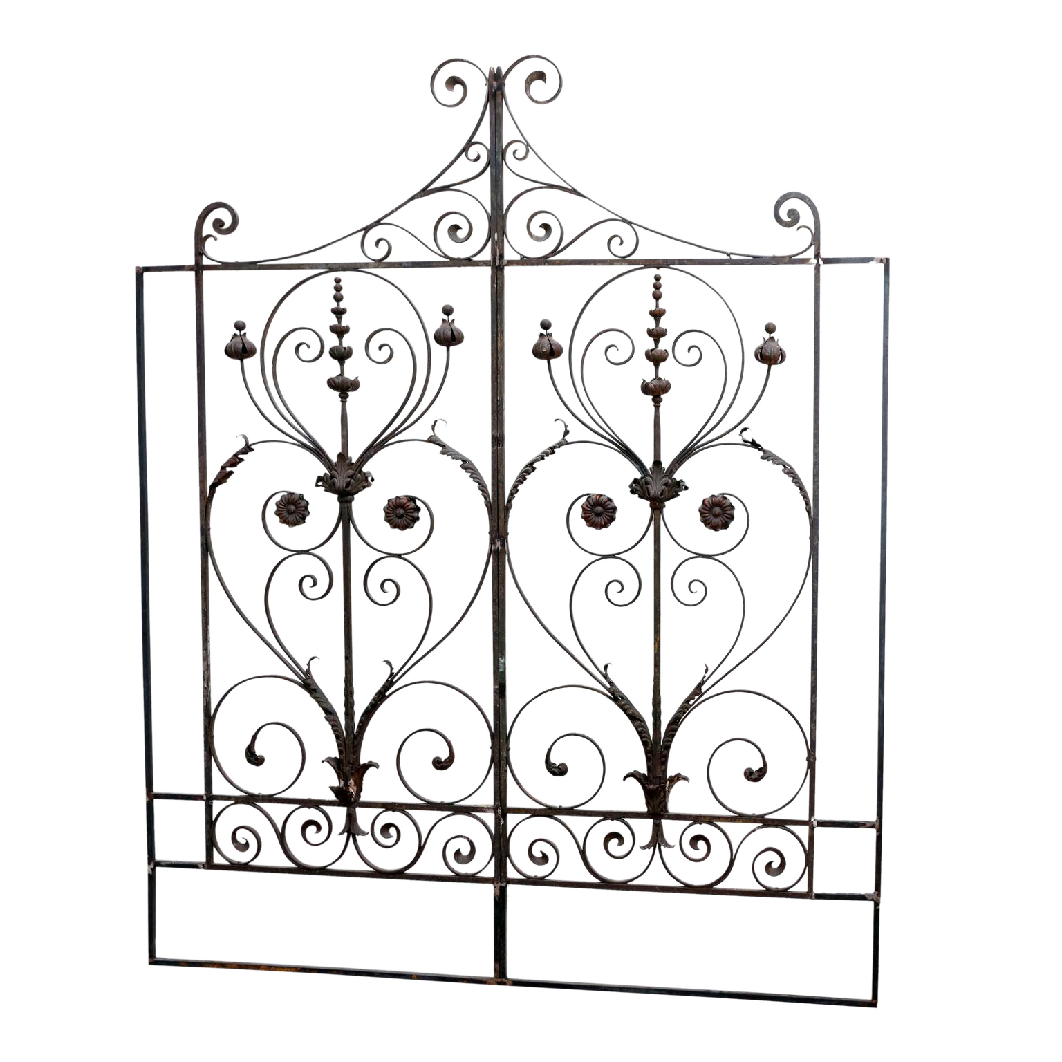 fine pair of 19th century french f ed iron gates later adapted as Military Flags fine pair of 19th century french f ed iron gates later adapted as a headboard decaso
