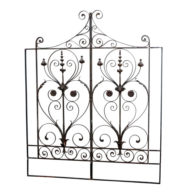 Pair of 19th Century French Forged Iron Gates, later adapted as a Headboard For Sale
