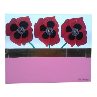 Red Poppies Painting on Canvas For Sale