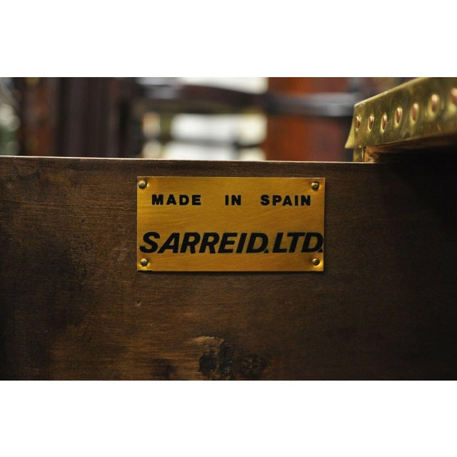 Vintage Sarreid Two Drawer Brass Studded Campaign Style Low Chest of Drawers For Sale - Image 10 of 13