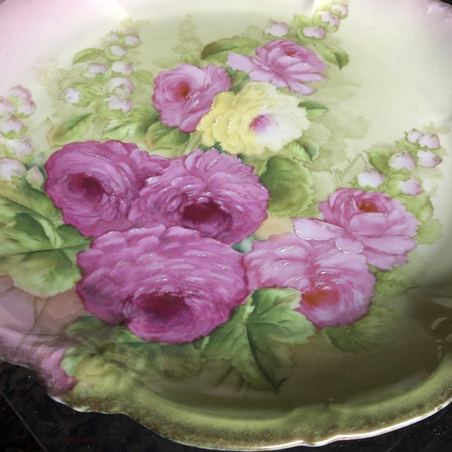 Vintage Hand Painted and Signed Vintage Bavarian Charger Plate For Sale - Image 4 of 13