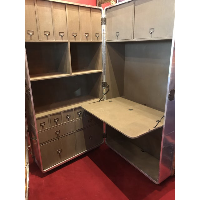 Chrome Metal Sheet Restored Office Trunk For Sale - Image 8 of 11