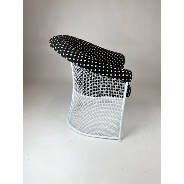 White Rare 1950s Russell Woodard Black and White Polka Dot Patio Wrought Iron Set For Sale - Image 8 of 13